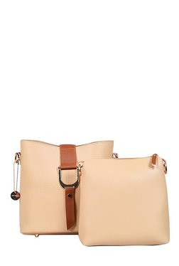 Lino Perros Beige Stitched Sling Bag With Pouch