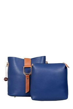 Lino Perros Blue Stitched Sling Bag With Pouch