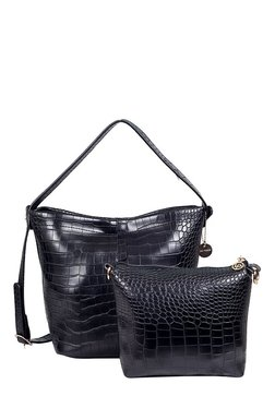Lino Perros Black Textured Hobo Bag With Pouch