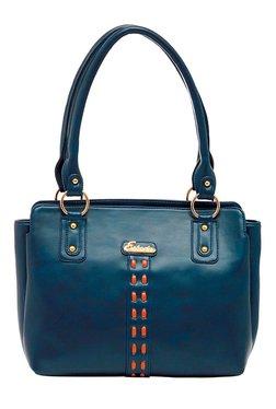 Esbeda Synthetic Napa Teal Blue Stitched Shoulder Bag