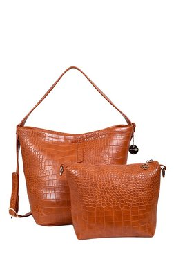 Lino Perros Tan Textured Hobo Shoulder Bag With Pouch