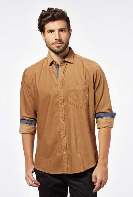 Easies Beige Cotton Casual Shirt