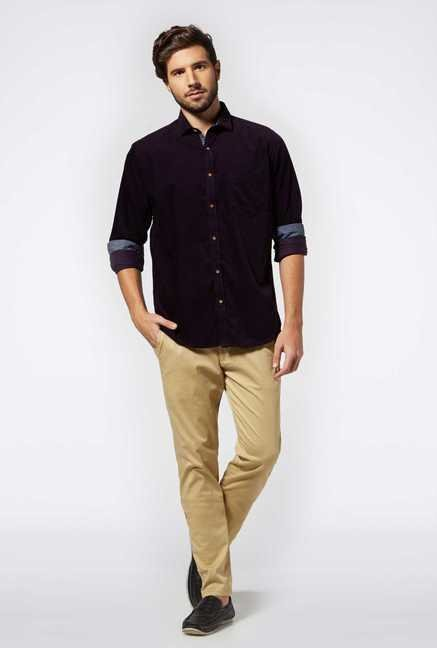 Easies Purple Cotton Casual Shirt