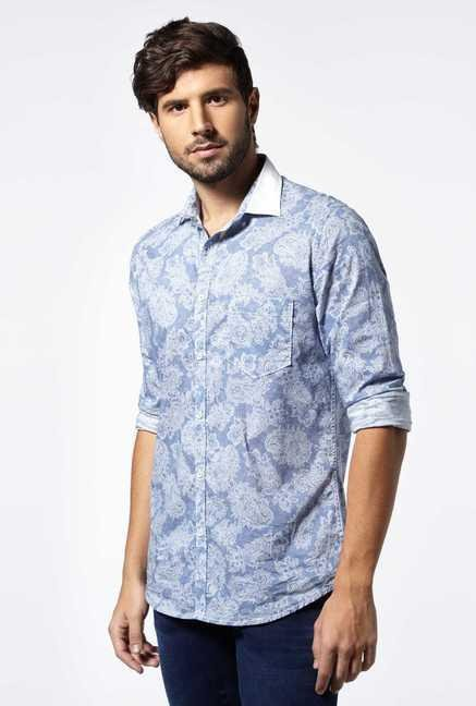 Easies Light Blue Cotton Casual Shirt