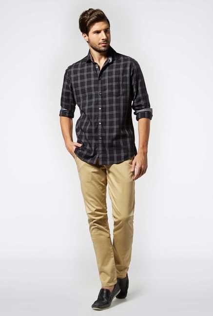 Easies Black Cotton Casual Shirt