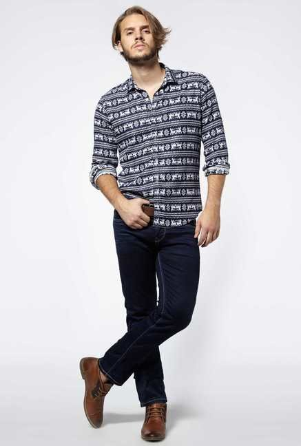 Killer Navy-Cream Printed Colby Shirt