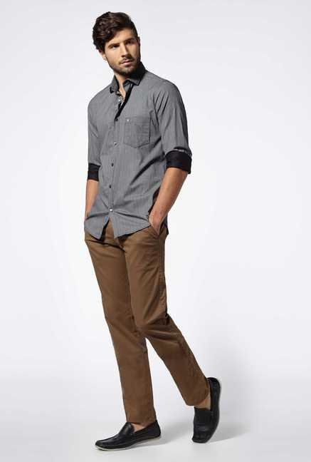 Easies Black Dune Cotton Casual Shirt