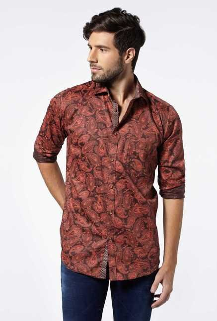Easies Maroon Cotton Casual Shirt