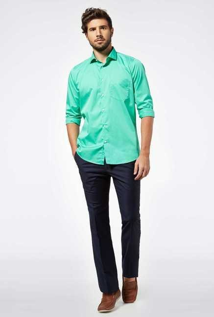 Easies Mint Green Cotton Casual Shirt