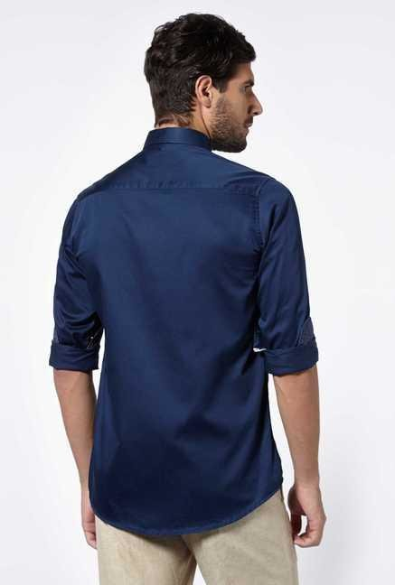 Easies Navy Cotton Casual Shirt