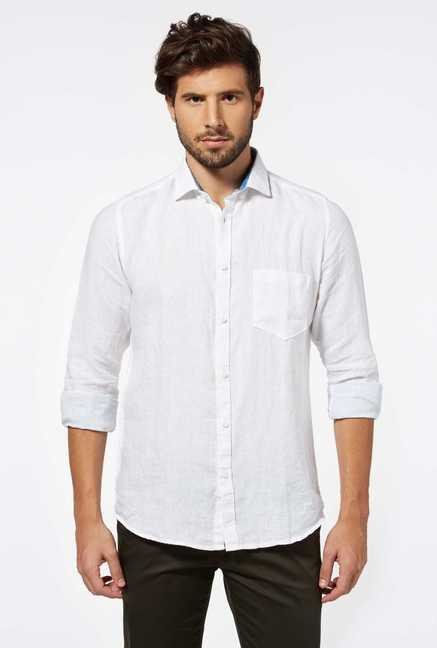 Easies White Linen Casual Shirt