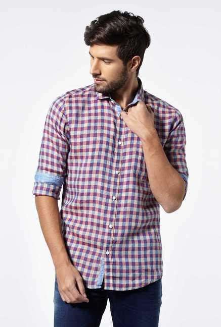 Easies Purple Linen Checks Shirt