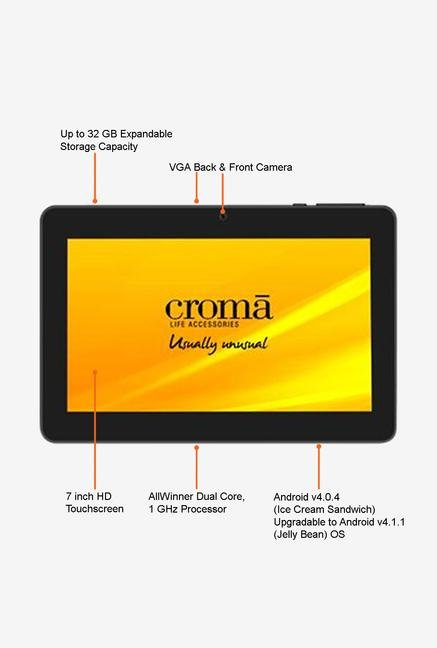 Croma CRXT1178 7-inch 4GB Tablet (Black)