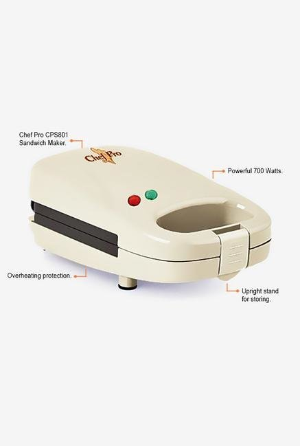 Chef Pro CPS801 700W Single Sandwich Maker (White)