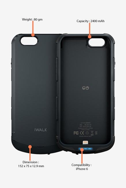 iWalk PCI2400I6 Battery Case for Apple iphone 6 (Black)