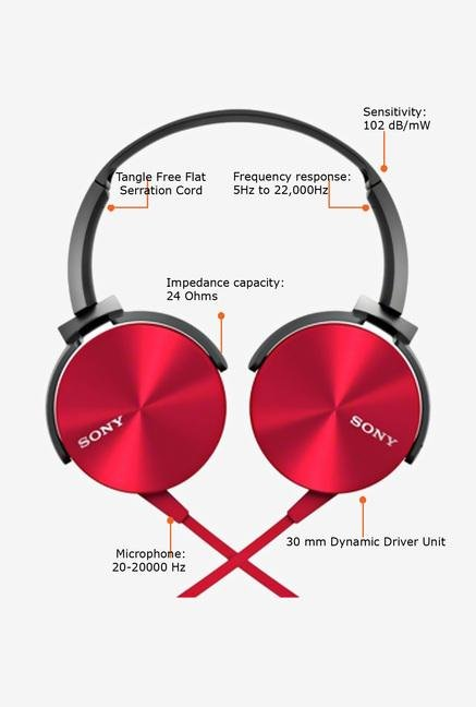 SONY MDR-XB450AP Headphone Red