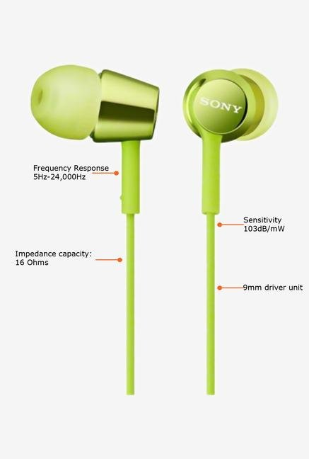 SONY MDR-EX150/G In the Ear Headphone Green