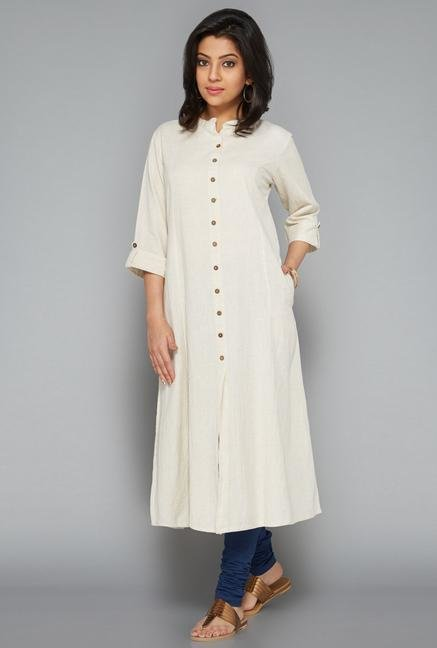 Utsa Off White Fab Front Open Kurta