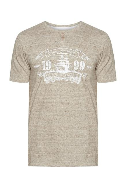 Westsport Mens Beige Cotton T Shirt