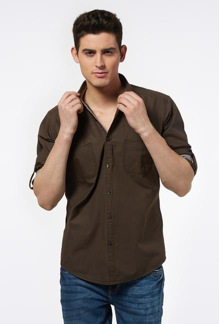 Provogue Brown Regular Fit Shirt