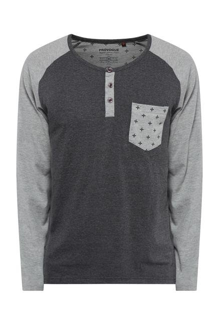 Provogue Grey Henley T Shirt
