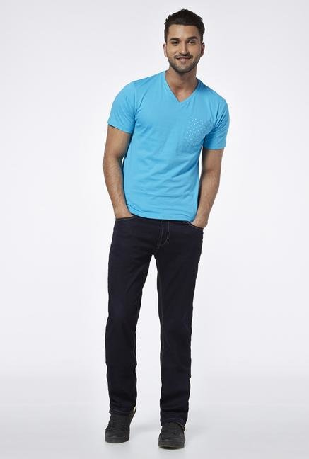 Provogue Blue V Neck T Shirt