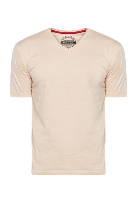 Provogue Peach V Neck T Shirt