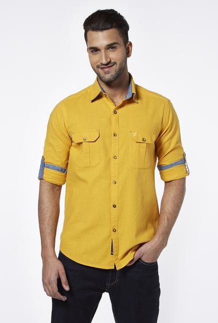 Provogue Yellow Slim Fit Cotton Shirt