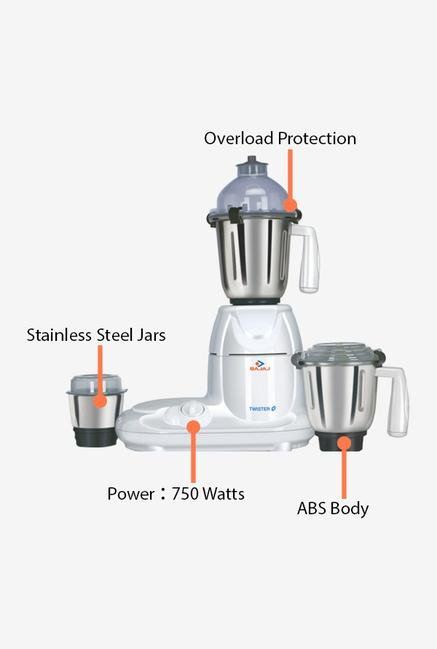 Bajaj Twister 750W 3 Jar Mixer Grinder (White)