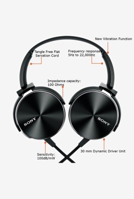 Sony MDR-XB450BV On the Ear Headphone Black