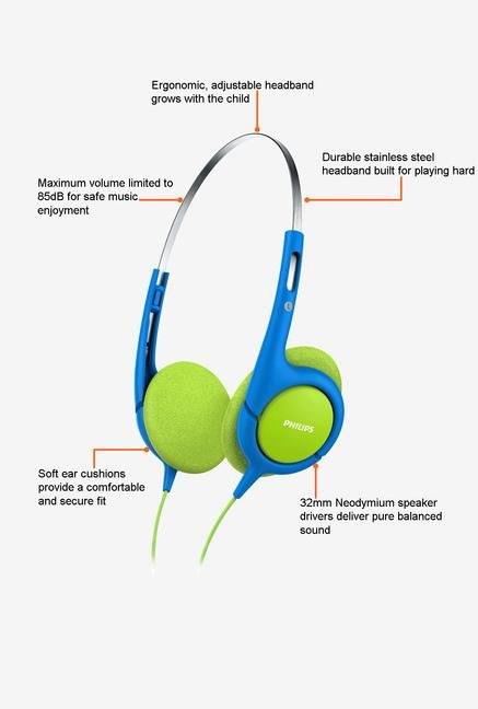 Philips SHK1030/00 On the Ear Headphone Blue and Green