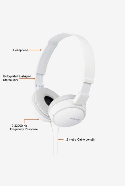 Sony MDR-ZX110 On the Ear Headphone (White)