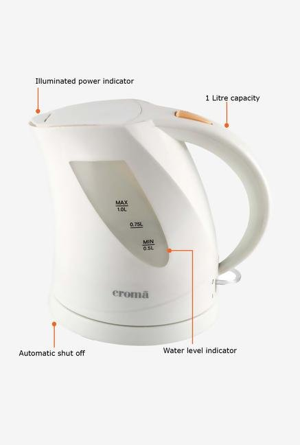 Croma CRK3027 1 Litre Electric Kettle (White)