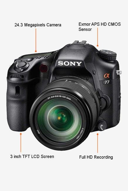 Sony SLT-A77VM 24.3 DSLR Camera (Black)