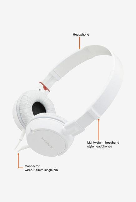 Sony MDR-ZX100 On the Ear Headphone White