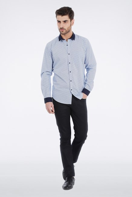 Basics Blue Micro Printed Formal Shirt