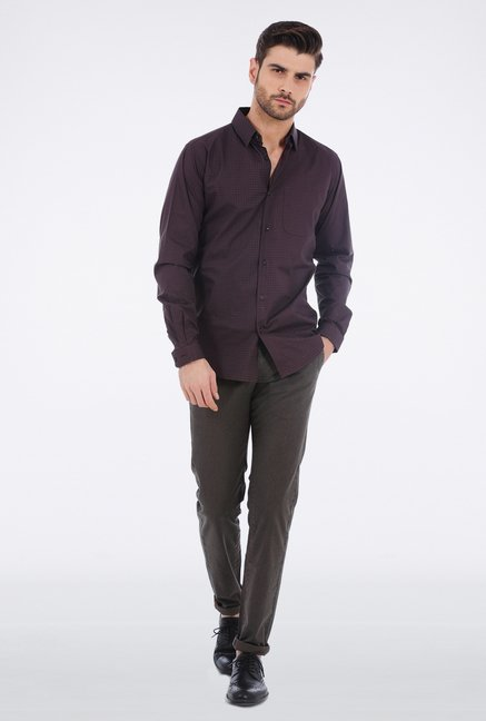 Basics Purple Circular Printed Shirt