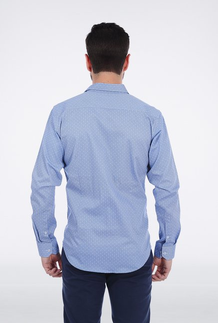 Basics Blue Dotted Shirt