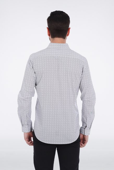 Basics White Printed Formal Shirt