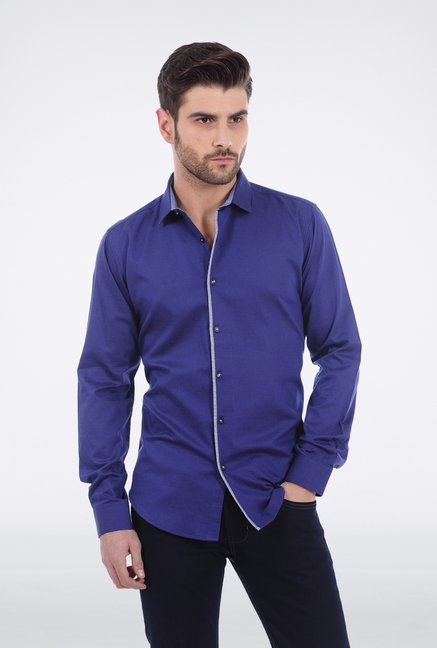 Basics Navy Satin Formal Shirt