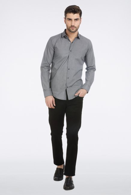 Basics Black Micro Printed Formal Shirt