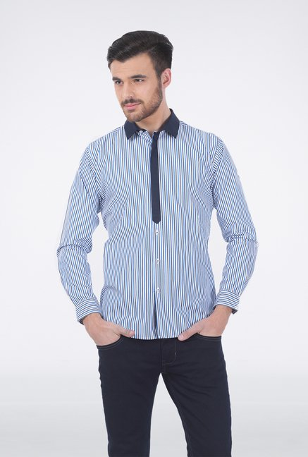 Basics Blue Striped Formal Shirt