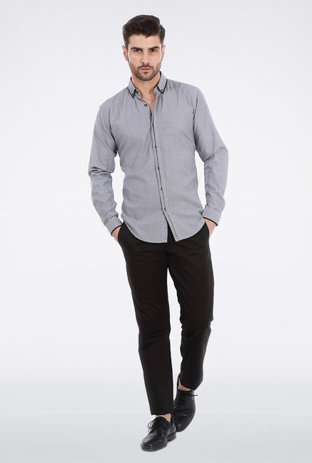 Basics Grey Dobby Weave Formal Shirt
