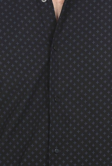Basics Black Star Printed Formal Shirt