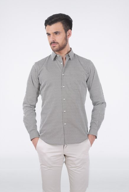 Basics Grey Circular Printed Shirt