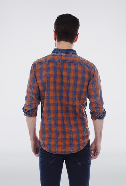 Basics Orange Casual Shirt