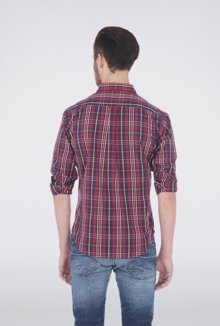 Basics Garnet Red Plaid Shirt