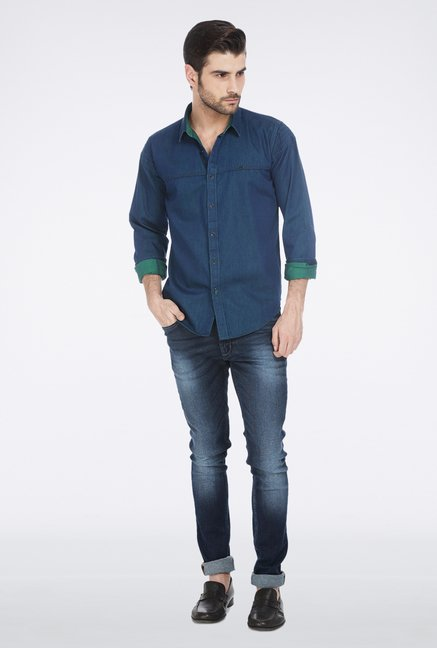 Basics Blue Casual Denim Shirt