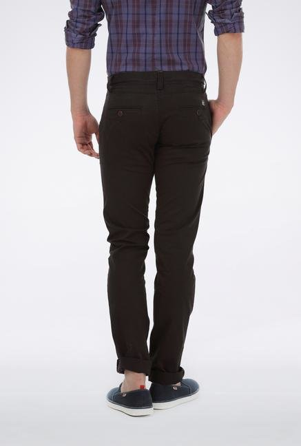 Basics Black Cotton Tapered Trouser
