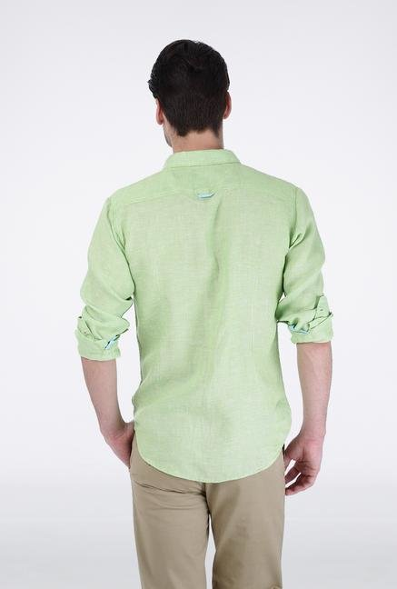Basics Green Chambray Linen Shirt